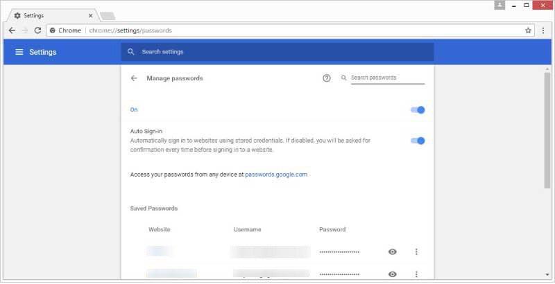 Opgeslagen wachtwoord beheren