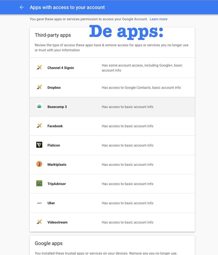 Gekoppelde apps verwijderen